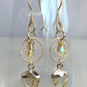 Rhema Jewels Golden Quartz SWARVOSKI Earring